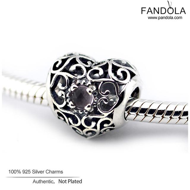 Assinatura de fevereiro birthstone coração encantos serve pandora pulseiras contas de cristal original 925 sterling silver jóias diy fina