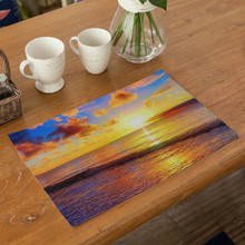 Landscape Scenery Table Mat Colorful Printing Polyester Cotton Placemat Kitchen Decoration Dining Accessories