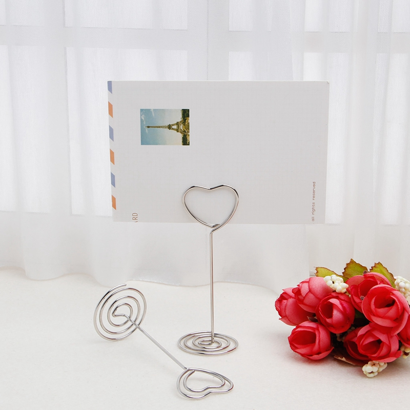 10Pcs Place Card Holder Heart Shape Clips Wedding Place Card Holder Table Photo Memo Number Name Clips Base Home Decor image