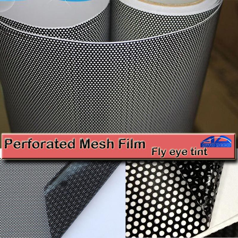 Black One Way Vision Fly Eye Tint Perforated Mesh Film Car tint Window Tint Car wrap film sticker Motorcycle Scooter Decals-in Car Stickers from Automobiles & Motorcycles