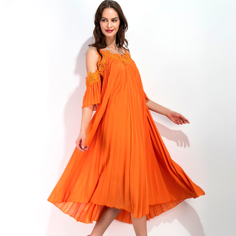 UNIQUEWHO Girls Women Casual Loose Orange Dress Short Sleeve Sexy Exposed Shoulder Pleated Dress V Neck Mid-Calf Dresses Summer