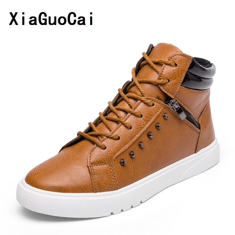 XiaGuoCai Man Casual PU Boots Ankle Zipper Lace-Up Round Toe flat Korean cozy Non-slip high quality Wild Stylish fashion YC452 (3)