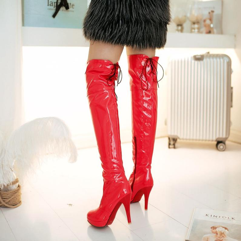 VAMOLASC New Women Autumn Winter Leather Over the Knee Boots Zipper Thin High Heel Boots Platform Women Shoes Plus Size 34-43 dijigirls new autumn winter women over the knee boots shoes woman fashion genuine leather patchwork long high boots 34 43