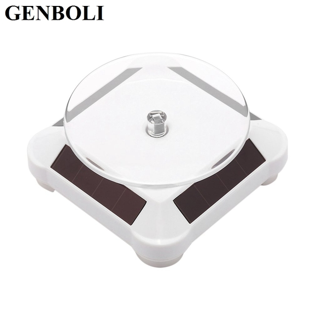 GENBOLI Stand Holder Solar Power Battery 360 Degree Turntable Rotating Display Stand Watch Ring Necklaces Jewelries Tool A30