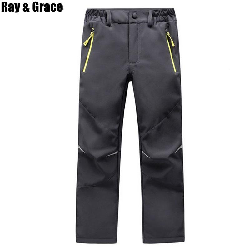 RAY GRACE Children Winter Softshell Hiking Pants Thermal Fleece Kids Pants Outdoor Waterproof Camping Trekking Skiing Thousers