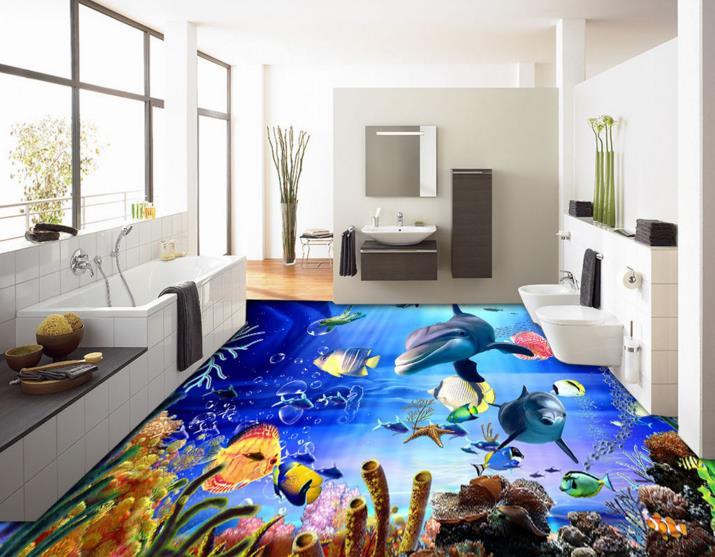 Custom photo floor wallpaper 3d stereoscopic coral sea star painting PVC self-adhesive waterproof floor wallpaper for wall