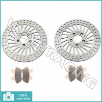 Front Brake Discs Rotors + Pads for HARLEY Sportster 883 1200 XL R S 00 03 Touring 1450 FLHTCUI FLHX Electra Street Glide 00 07