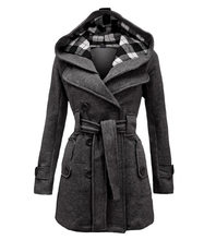 Dame Warme Herbst Winter Mantel Frauen Doppel-Breasted Mit Kapuze Mantel Lange Jacke Wolle Blends Outwear Chaquetones De Mujer(China)