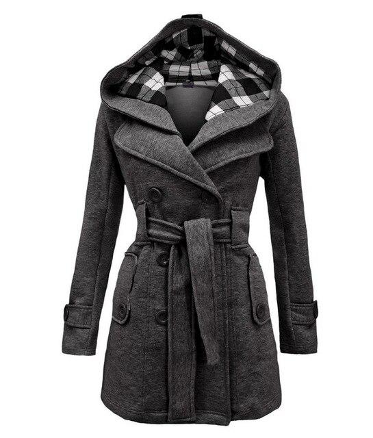 Lady Warm Autumn Winter Coat Women Double -Breasted Hooded Mantle Long Jacket Wool Blends Outwear Chaquetones De Mujer