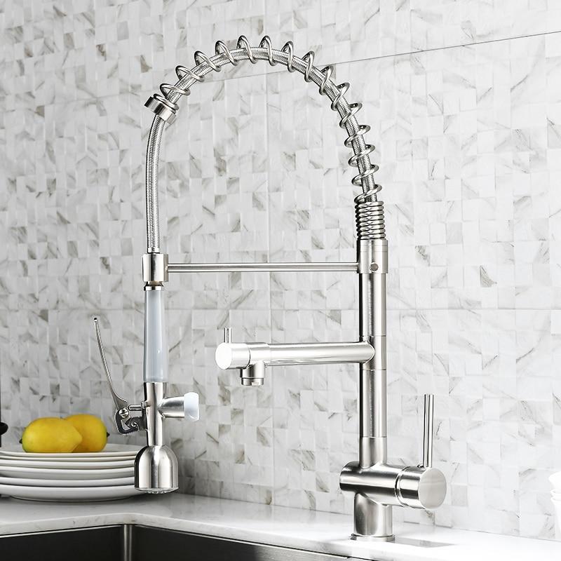 FLG LED robinets de cuisine avec conception en caoutchouc brossé mélangeur robinet pour cuisine poignée unique tirer vers le bas pont monté grue pour éviers