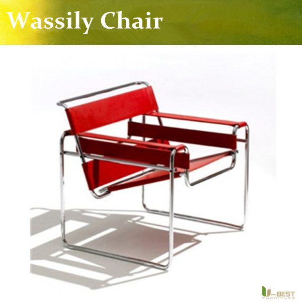 U-BEST antique style chrome-plating living room furniture hard leather wassily leisure chair paulmann 97 652