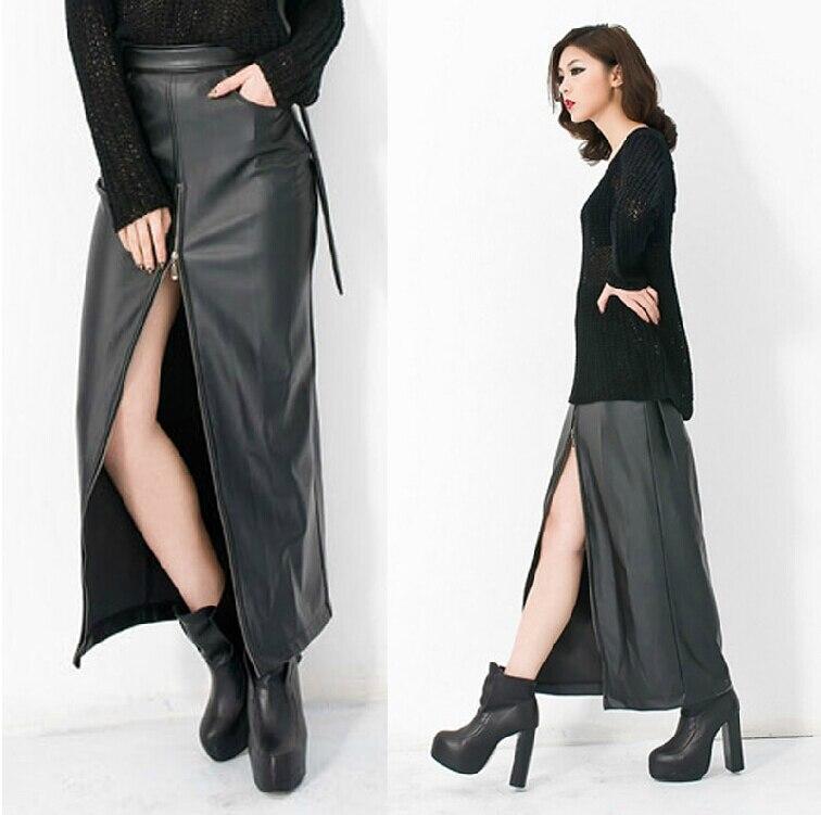 De Longue Femmes Cuir Peut Nouvelle Hanche Éclair Marque Haute JupeEn Poches Jupes Sac Sexy Être Personnalisé Mode Rétro Noir Fermeture 43RjAL5
