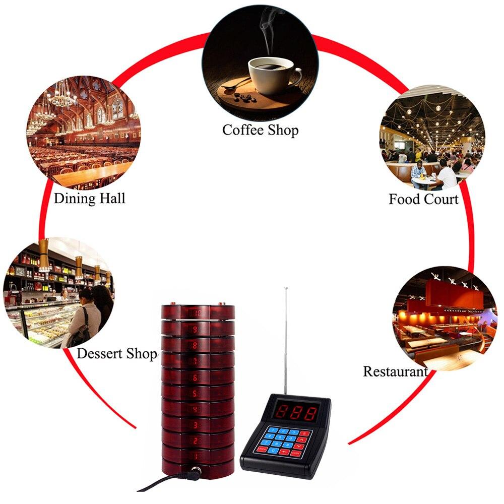 Système de mise en file d'attente sans fil de téléavertisseur de Restaurant 1 transmetteur + 20 téléavertisseurs d'équipements de Restaurant rechargeables F4475 - 5
