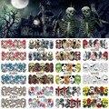 12 Folhas Halloween Nail Art Transferência de Água Adesivo Veados Cobertura Completa Decalques Crânio Fantasia Adesivos Dicas Envoltório Decoração A1093-1104
