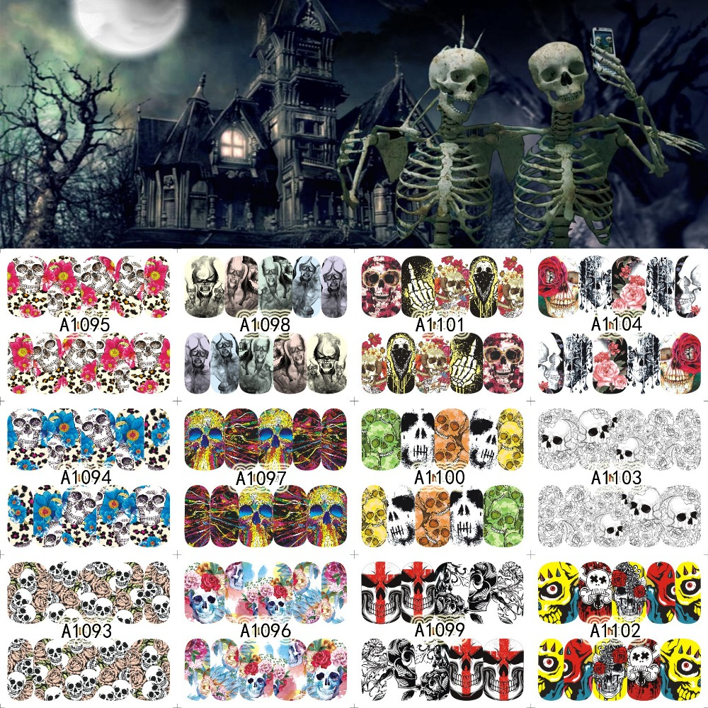 12 Sheets Halloween Nail Art Water Transfer Sticker Deer Full Cover Decals Skull Fancy Stickers Wrap Tips Decoration A1093-1104 dc submersible pump reorder rate up to 80