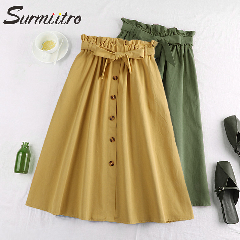 Surmiitro Spring Summer Skirts Womens 2019 Midi Knee Length Korean Elegant Button High Waist Skirt Female Pleated School Skirt(China)