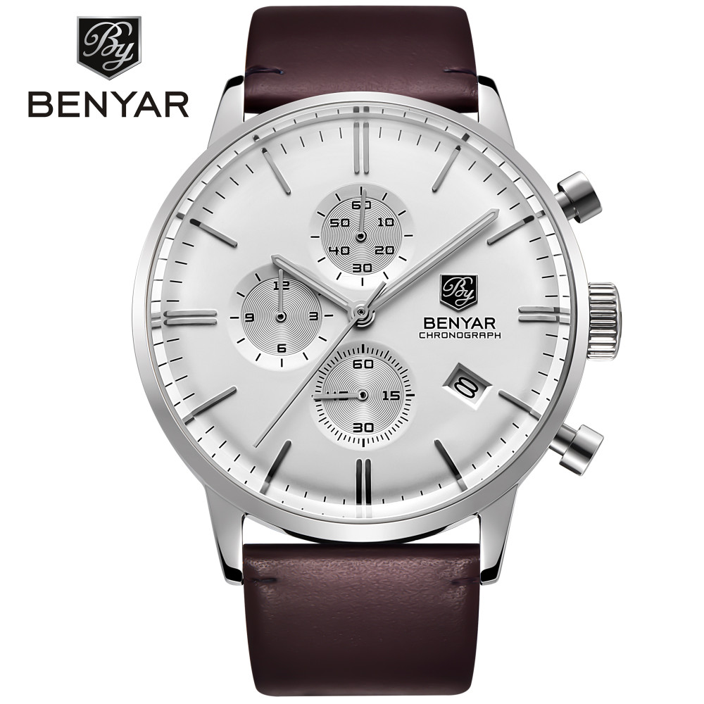 Benyar sports mens watch top brand luxury fashion waterproof 30 meters calendar multifunctional leather strap quartz watchBenyar sports mens watch top brand luxury fashion waterproof 30 meters calendar multifunctional leather strap quartz watch