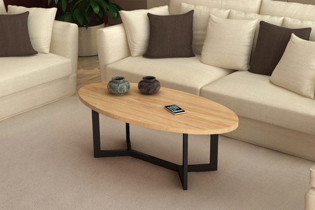 American Wood Oval Coffee Table Simple Modern Large Sized Apartment Living  Room Iron Tea Table