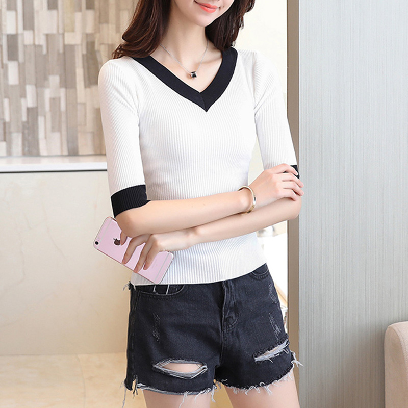 Knitted Sweater 2018 Spring Autumn Fashion Color matching Pullovers Half Sleeve V neck Chandail Femme Sexy Slim Women tops in Pullovers from Women 39 s Clothing