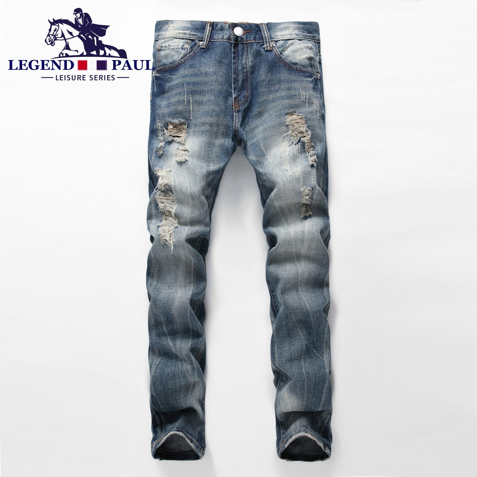 Mens jeans design legends jeans - Legend Paul Brand 2017 New Men S Hole Fashion High Quality Jeans Men Cotton Male Denim Pants
