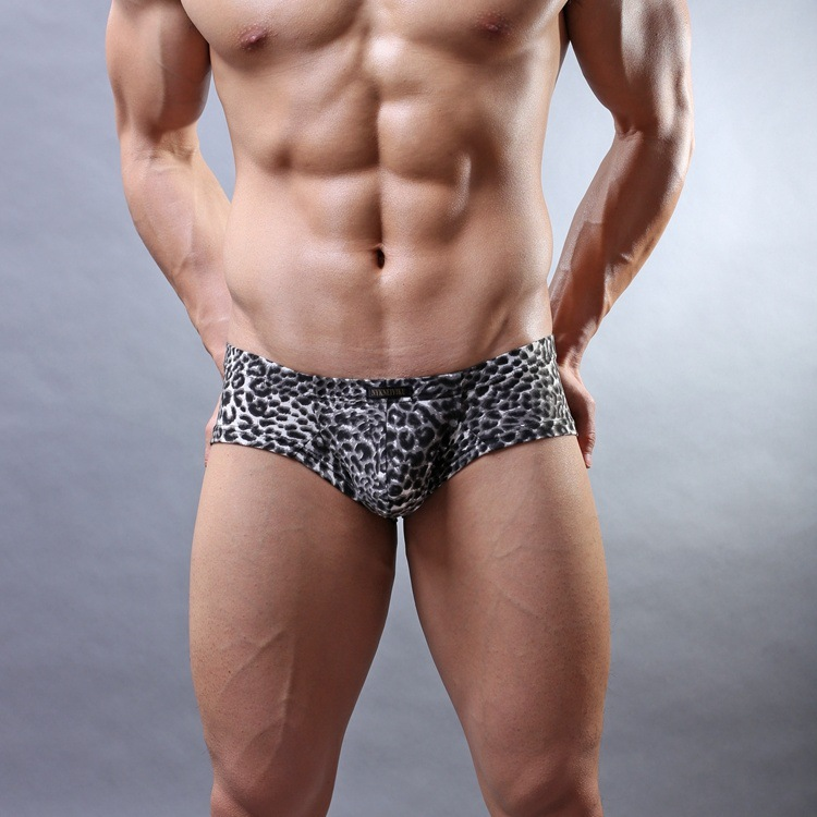 Gay Underwear Men Boxers Calzoncillos Convex-Pouch Shorts Man Leopard-Printed Sexy Low-Waist