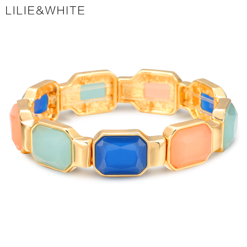 LILIE&WHITE Bohemia Stretch Bracelet&Bangle For Women Colorful Semi-transparent Resin Bangles For Girl Jewelry Gift HL