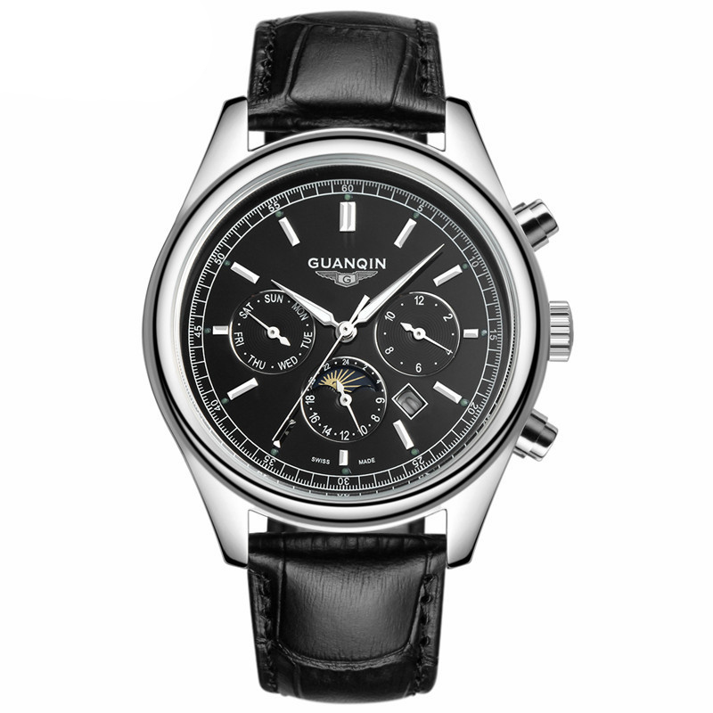 GUANQIN GQ12001 nailed black Leather strap leisure business moon phase luminous waterproof sports quartz watch relogio masculinoGUANQIN GQ12001 nailed black Leather strap leisure business moon phase luminous waterproof sports quartz watch relogio masculino