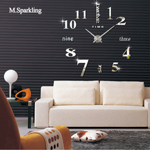 M.Sparkling digital wall clock modern design DIY self adhesive large decorative clocks home decoration unique gift