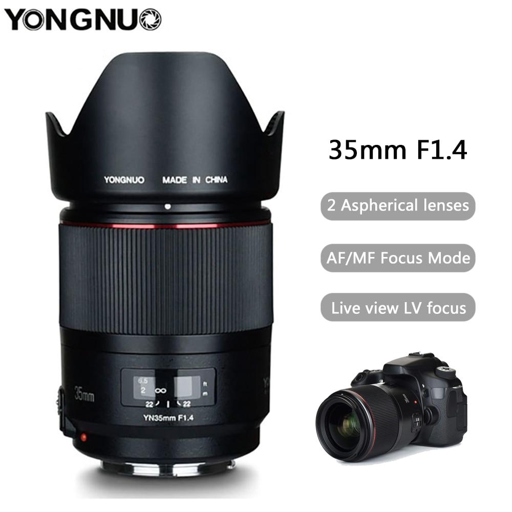 YONGNUO YN35MM F1.4 objectif grand Angle pour Canon à ouverture lumineuse Prime objectifs d'appareil photo reflex numérique pour Canon 600D 60D 5DII 5D 500D 400D objectif