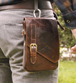 2016 New Top Quality Genuine Real Leather men vintage Brown Small Hook Belt Messenger Bag Waist Pack Drop Bag