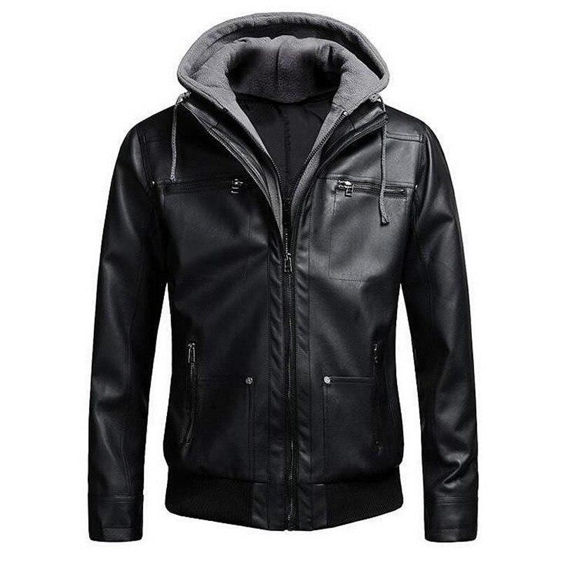 2018 Motorcycle Brand Leather Jackets Fake Men Two Pieces Bomber Leather Jacket Mens Slim Fit Hooded Jacket Winter Dropshipping мужские кожанные куртки с косой молнией