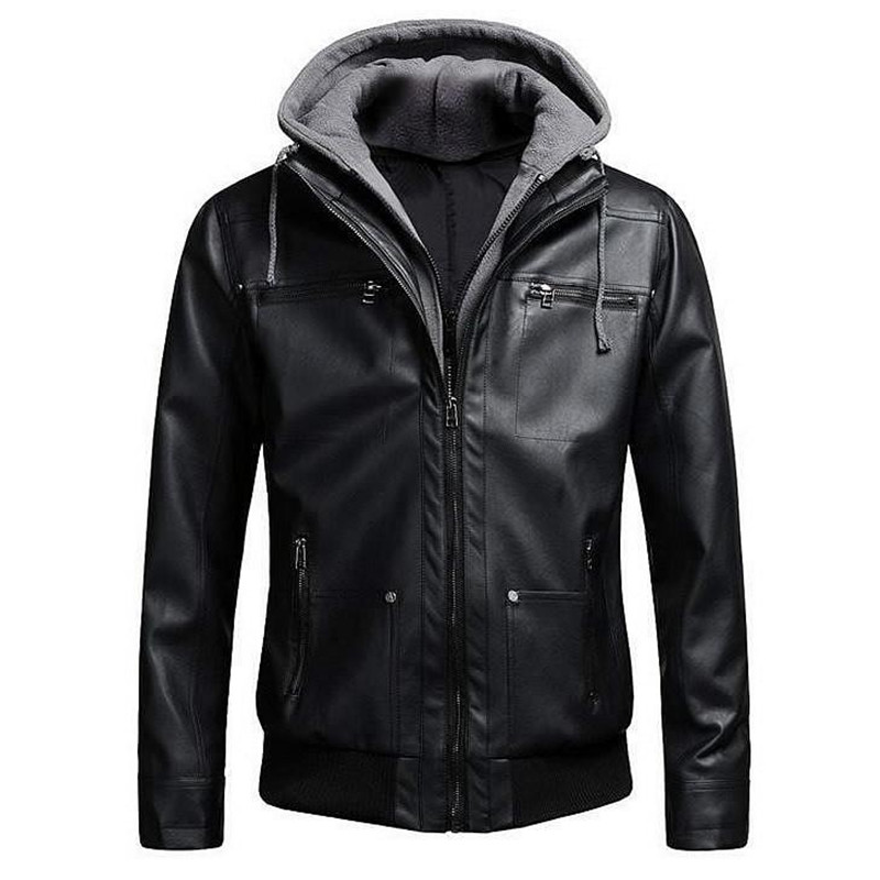 2018 Motorcycle Brand Leather Jackets Fake Men Two Pieces Bomber Leather Jacket Mens Slim Fit Hooded Jacket Winter Dropshipping