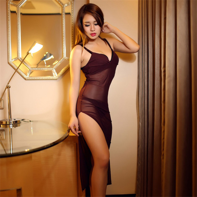 Elegant Long Nightgowns With G-String Thongs High Slit Long Nightgown Spaghetti Strap Nightie Women Nightwear Homewear For Women