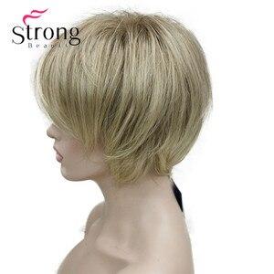 Image 4 - StrongBeauty peluca sintética de capas cortas, color rubio grueso, esponjoso, opciones de color