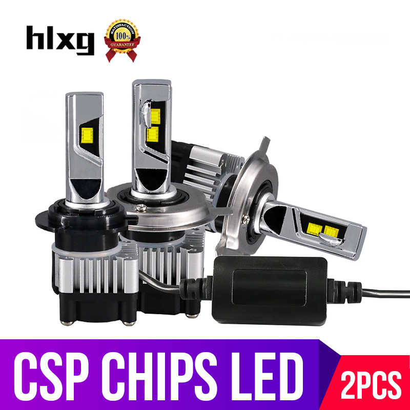 hlxg 12V 8000lm High Low Beam H4 H7 Led Car Headlights CSP Auto Lamp 9005 HB3 All In One Car Led H11 H8 Fog Lights HB4 6000K