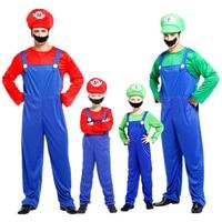 Halloween Plumber Bros Super Mario Luigi Costume Kids Boys Girls Fantasia Disfraces Carnival Cosplay Clothes For