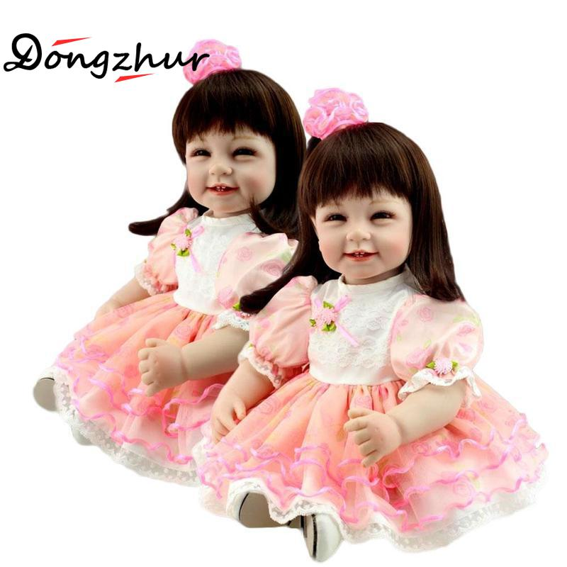 55cm Reborn Baby Dolls Handmade Silicone Baby Toddler Doll Lifelike Soft Vinyl Long Hair Girl Doll Cute DIY Toys Best Gifts New handmade new model soft vinyl silicone reborn toddler princess girl baby alive doll toys with strap denim skirts birthday gifts