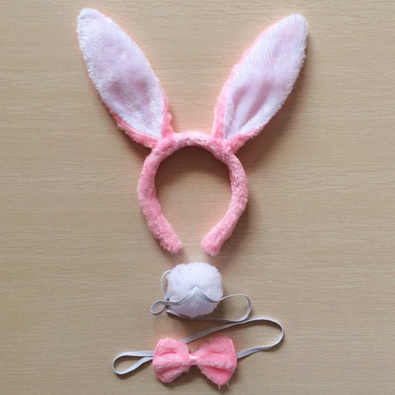 Bunny Accessory Kit Ears /& Tail Hen Party Do Adult Womens Fancy Dress Costume