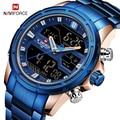 NAVIFORCE Männer Quarz LED Digital Uhr Männlichen Blau Voller Stahl Military Armbanduhr Relogio Masculino Männer Wasserdichte Uhren