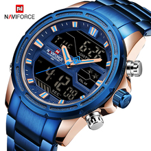 NAVIFORCE Men Quartz LED Digital Clock Male Blue Full Steel Military Wrist Watch Relogio Masculino Men Waterproof Watches цена