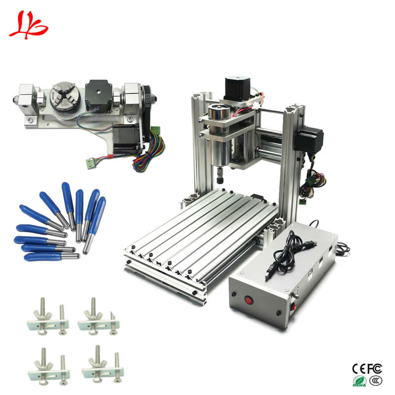 Mini fresatura CNC macchina per incidere 3020 5 assi USB port pcb in alluminio legno router intaglio
