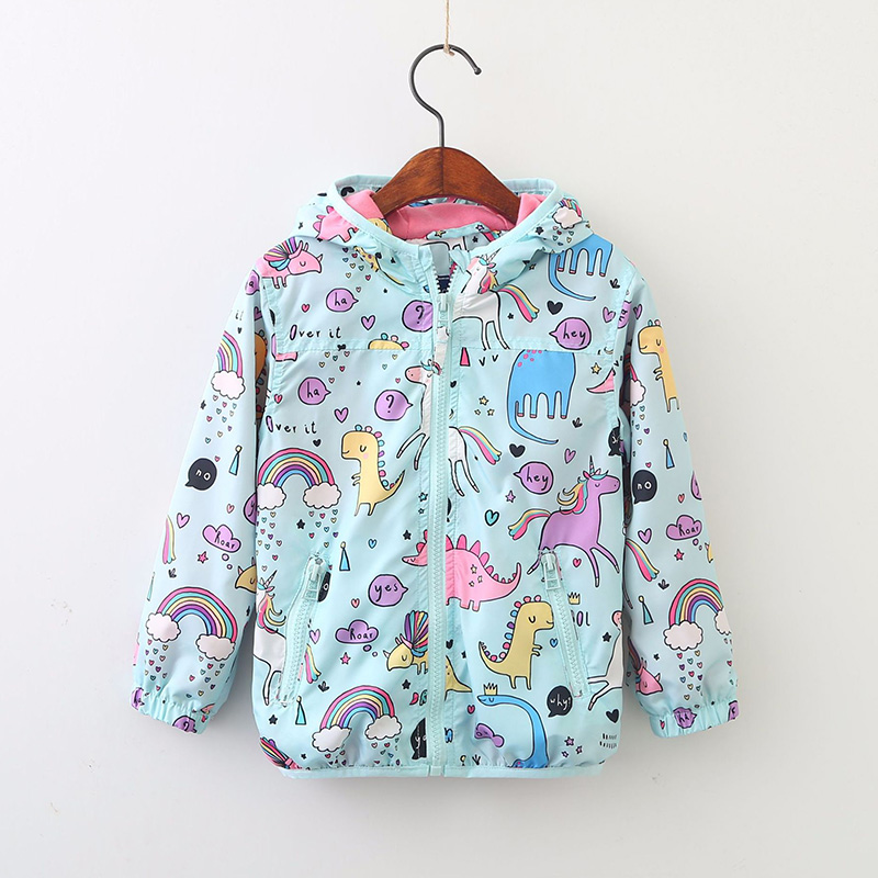 48e3eecb058 Cute girls clothes 2018 Spring Kids Unicorn Jacket For Girls Dinosaur Baby  Girl Jackets Coats Cartoon Hooded Girls Windbreaker