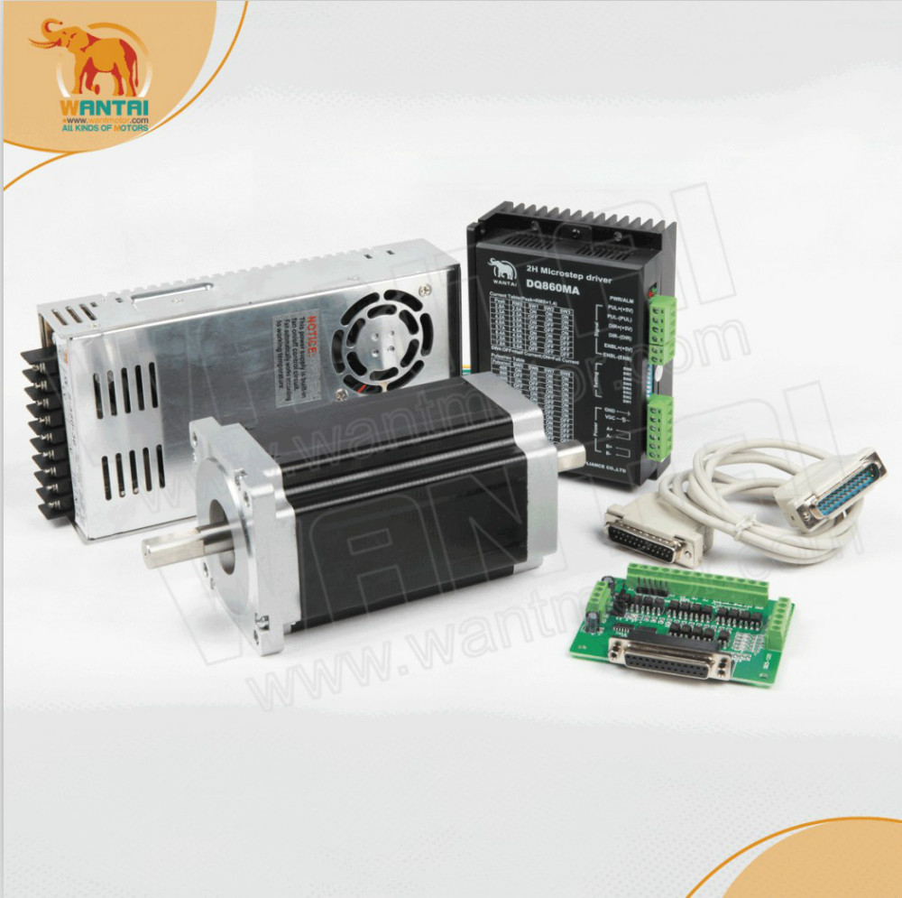 1 Axis Nema 34 Wantai Stepper Motor Single Shaft1090oz-in, 5.6A, 85BYGH450D-008, 3D Printer CNC Motor& DQ860MA driver & Power  цена и фото