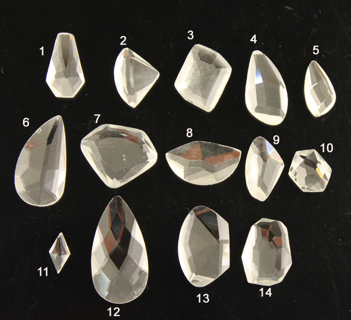 25pc/lot  faceted shaped clearstones Crystal Glass rhinestones  high Quality Fancy Stones Super Shiny DIY Dress Decoration China