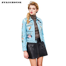 High Quality Genuine Leather Jacket Women 2019 Chic Rivet Embroidery Motorcycle Leather Jacket Women High-end Sheepskin Coats(China)