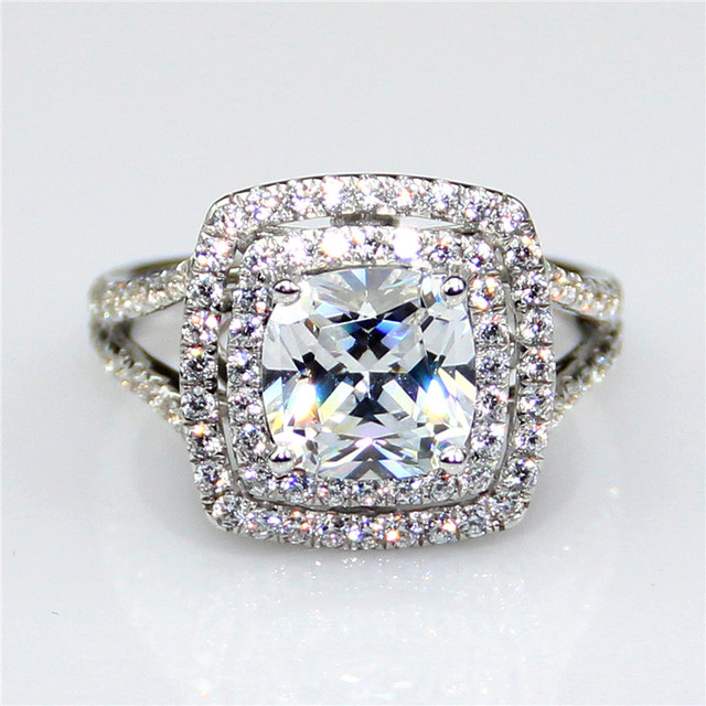 LASAMERO 3CT Diamond Cushion Cut Double Halo Diamante Cushion ASCD Simulated Diamond Engagement Silver 925 Ring
