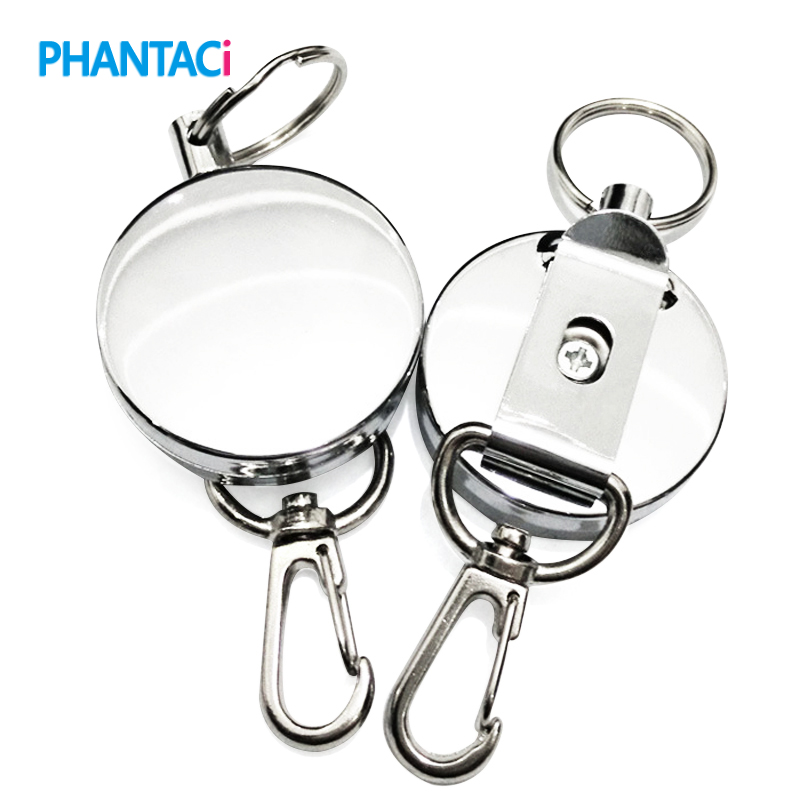 Retractable Pull Key Ring ID Badge Lanyard Name Tag Card Holder Recoil Reel Belt Clip Attachment Buckle Recoil Keychain Tool