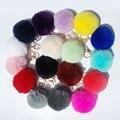17 Colores Real de la Bola de Pom Pom de Piel Llavero Coche Llavero Conejo Pompones Bola Llavero De piel de Piel de la Marca Encantos Del Bolso con Cadenas Clave anillos