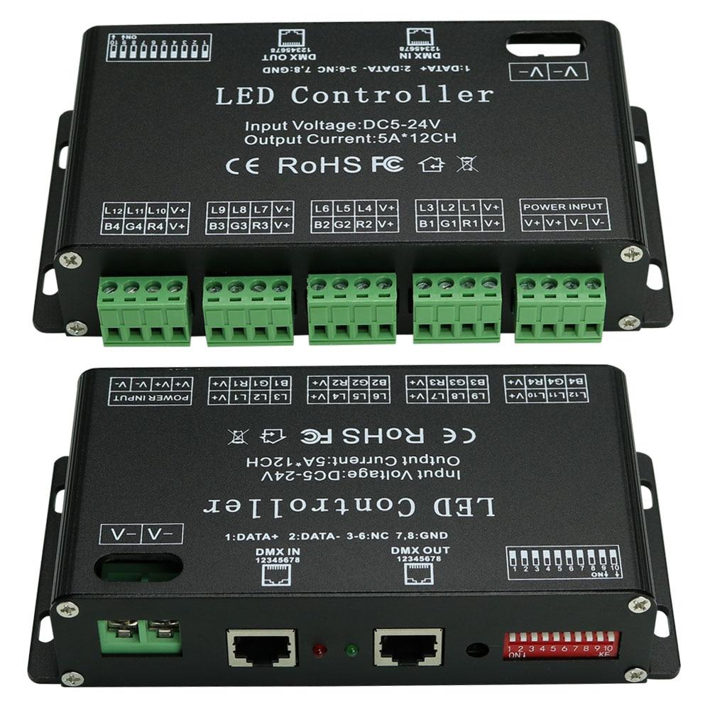 High Power DC5V 24V 12 Channels DMX 512 RGB LED Strip Controller DMX Decoder Dimmer Driver