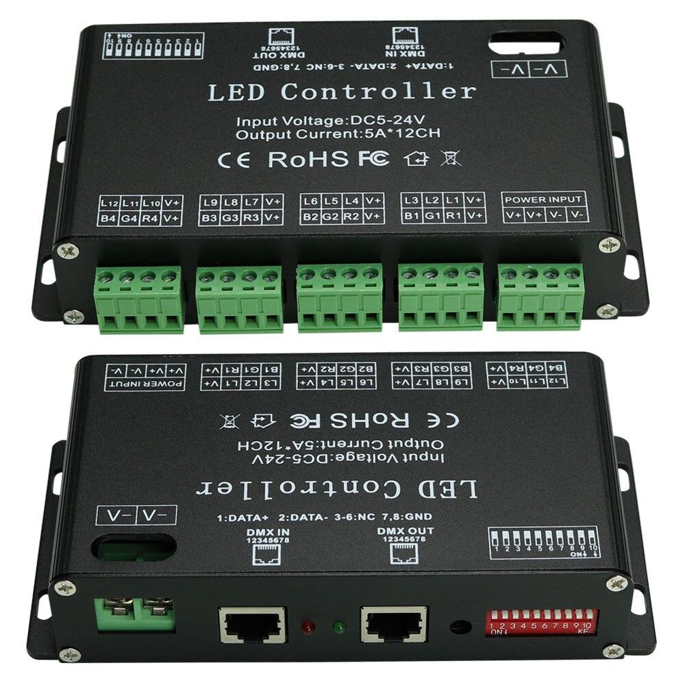 High Power DC5V-24V 12 Channels DMX 512 RGB LED Strip Controller DMX Decoder Dimmer Driver Use for LED Strip Module maykit 12 channels dmx decoder 5a 12ch dc5v dc24v for led rgb strip lighing dmx controller